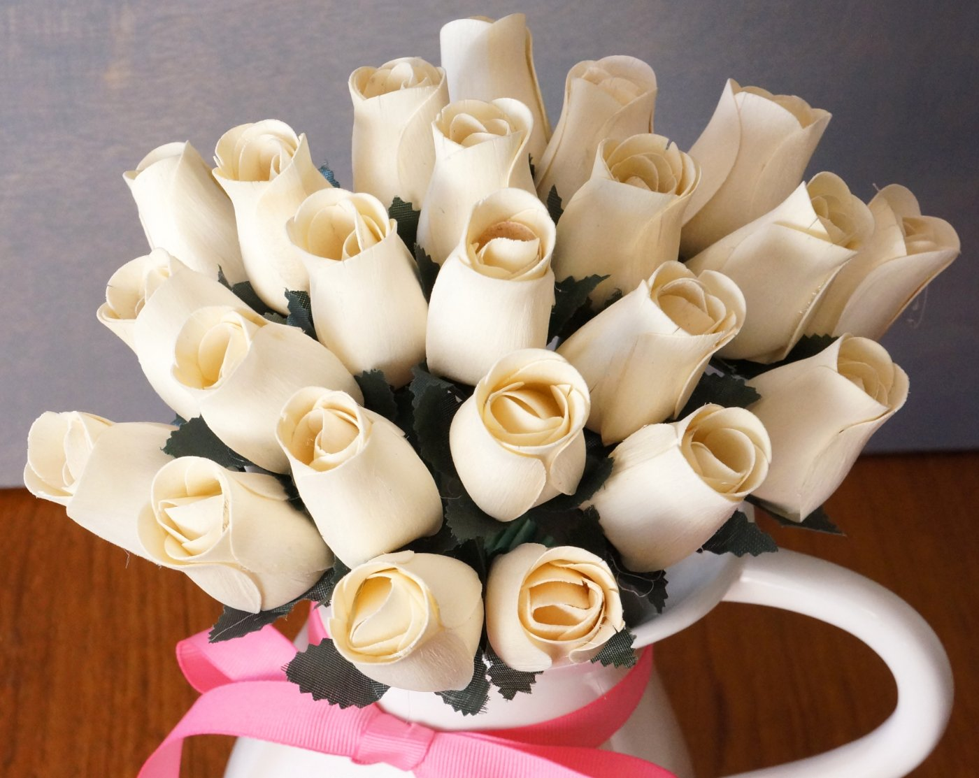 Amazon Orchid Ivy 24 Beautiful Realistic Wooden Roses White