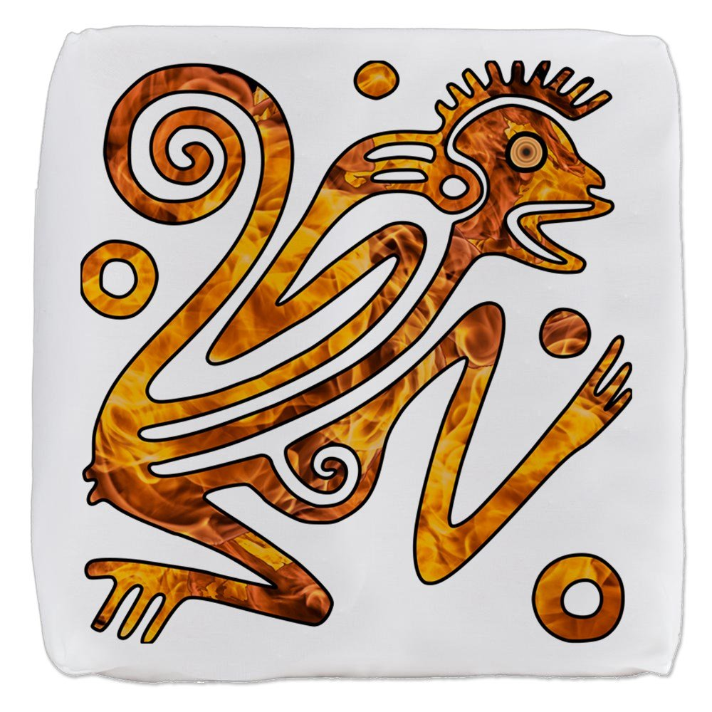 18 Inch 6-Sided Cube Ottoman Chinese New Year Aztec Style Fire Monkey 2016