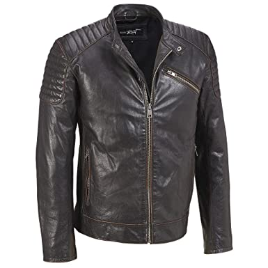 Black Rivet Mens Quilted Leather Jacket Waccordion Sides At Amazon