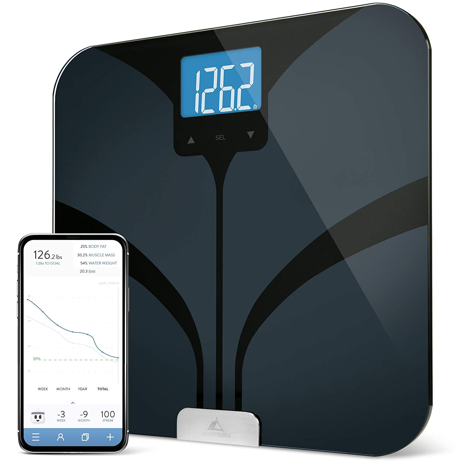 Weight Gurus Bluetooth Smart Connected Body Fat Scale with Large Backlit LCD, by Greater Goods (Black)