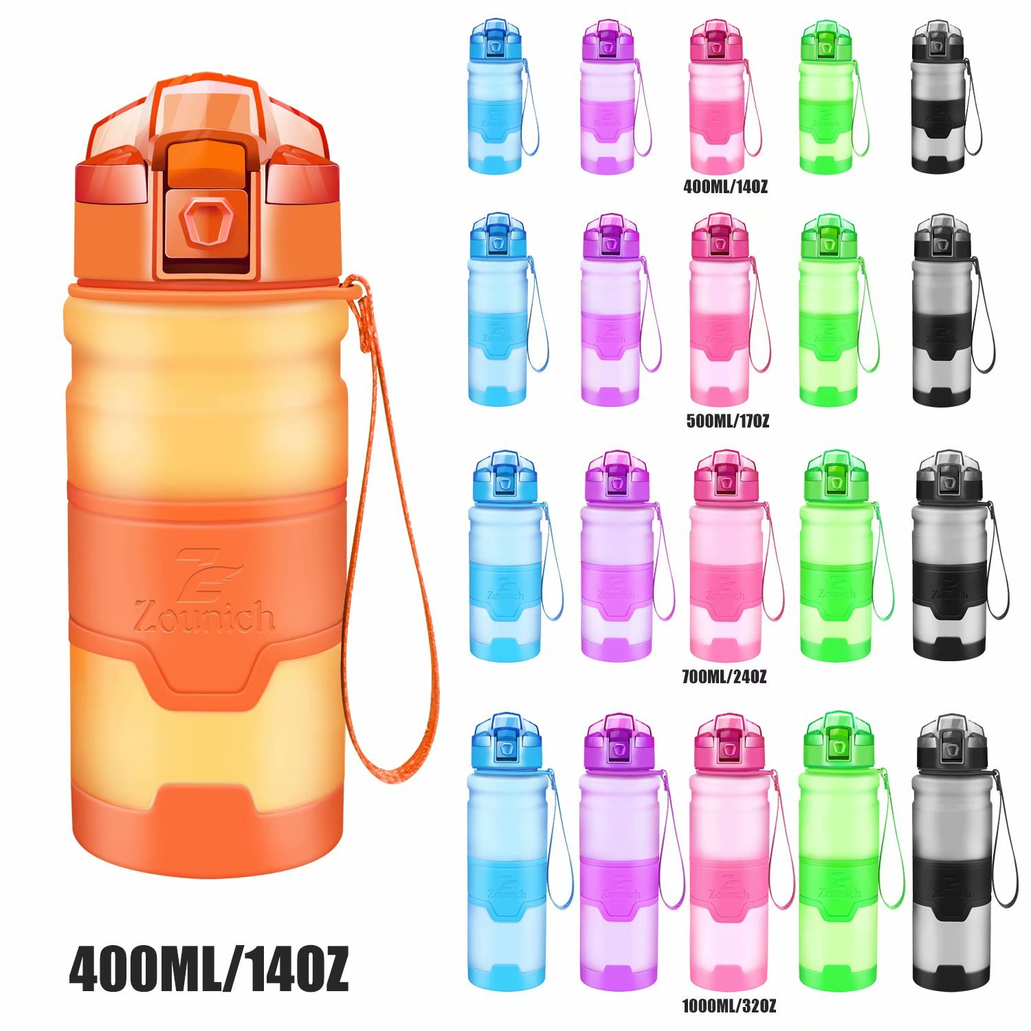 Sport Water Bottle Tritan Bpa Free Drinking Bottles For Outdoor,Bike Cycling,Running,Camping,Gym,Yoga,Kids,Unisex 400ml/500ml/700ml/32oz Fruit Filter Flip Top Opens With 1 Click Reusable Leakproof Lid