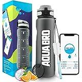 Aquabro Motivational Water Bottle 32 ounce | Drink Reminder APP | Time Marker 1 Liter Leakproof Fruit Infuser Non-Toxic for S