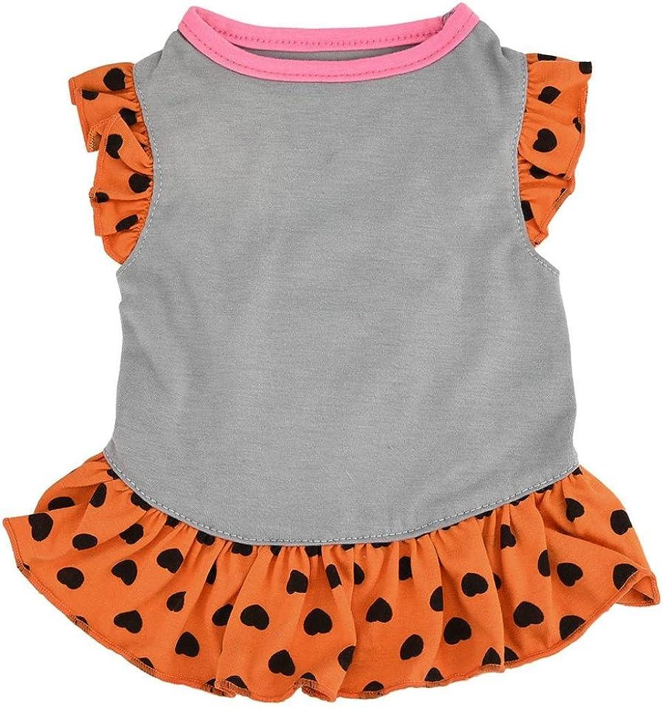 DIGOOD Medium Small Dog Cat Love Heart Print Sleeveless Skirt Pet Puppy Elegant Dress Clothes