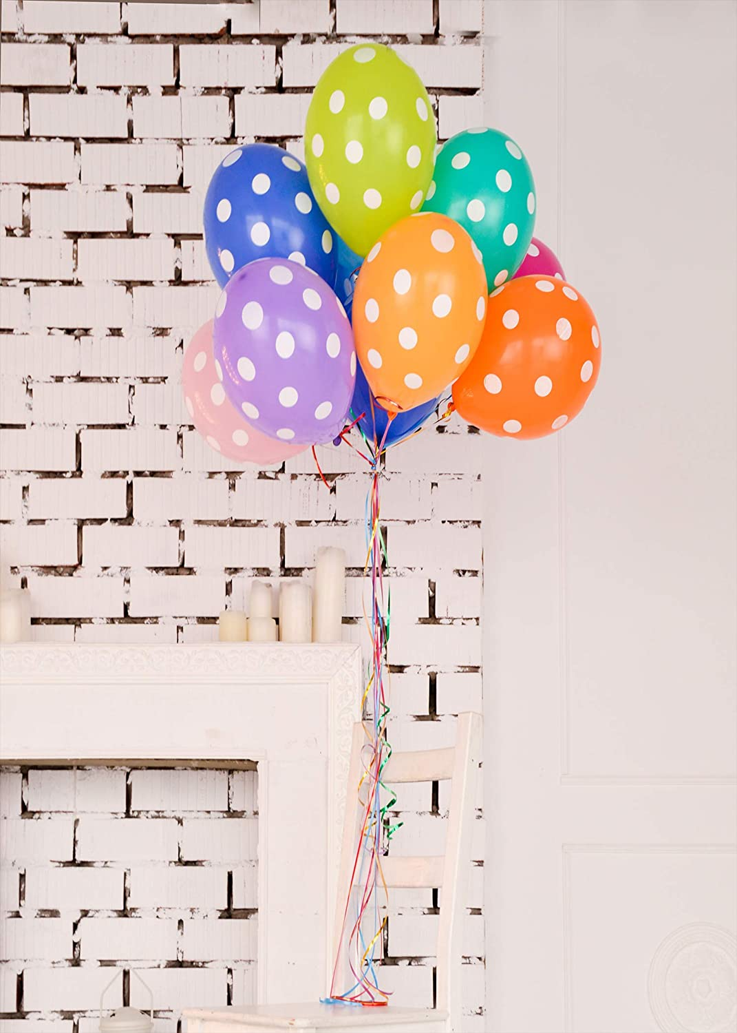 Happy Birthday Photography Background Brick Wall Colorful Balloons Backdrop Baby Shower Backdrop Girl Boy Kids Children Birthday Party Art Studio Photo Booth Background Props 5x7FT E00T9142