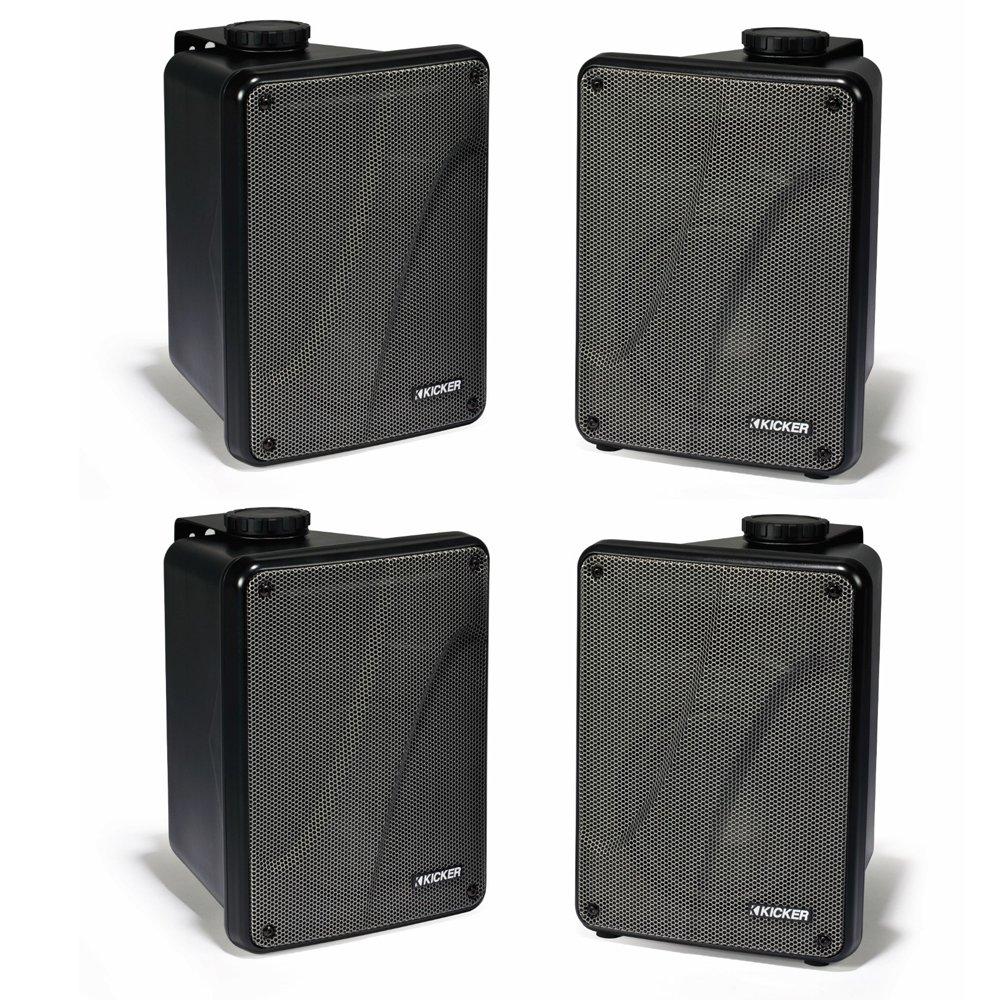 4) KICKER KB6000 6.5'' Black Full Range Indoor/Outdoor/Marine Speakers 11KB6000B by Kicker
