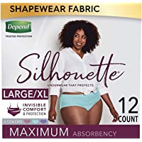 Depend Silhouette Incontinence and Postpartum Underwear for Women, Maximum Absorbency, Disposable, Large/Extra-Large…