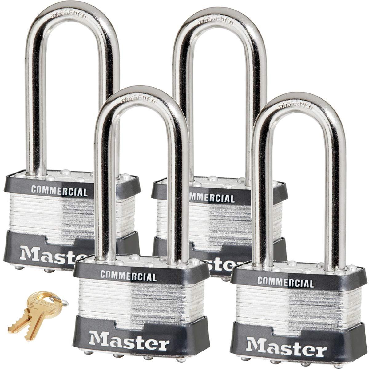 Master Lock Padlock - 2''W Body x 2-1/2''L Shackle, Four (4) Keyed Alike Locks 25NKALJ-4 w/Bump Stop Technology