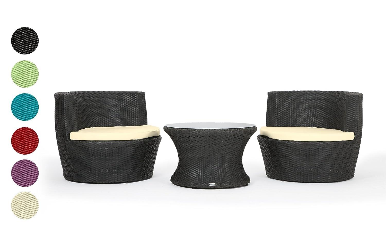 Amazon.de: Rattan4Life Capri Rattan Schwarz / Creme Polyrattan Gartenmoebel  Sitzgruppe Lounge Moebel Set