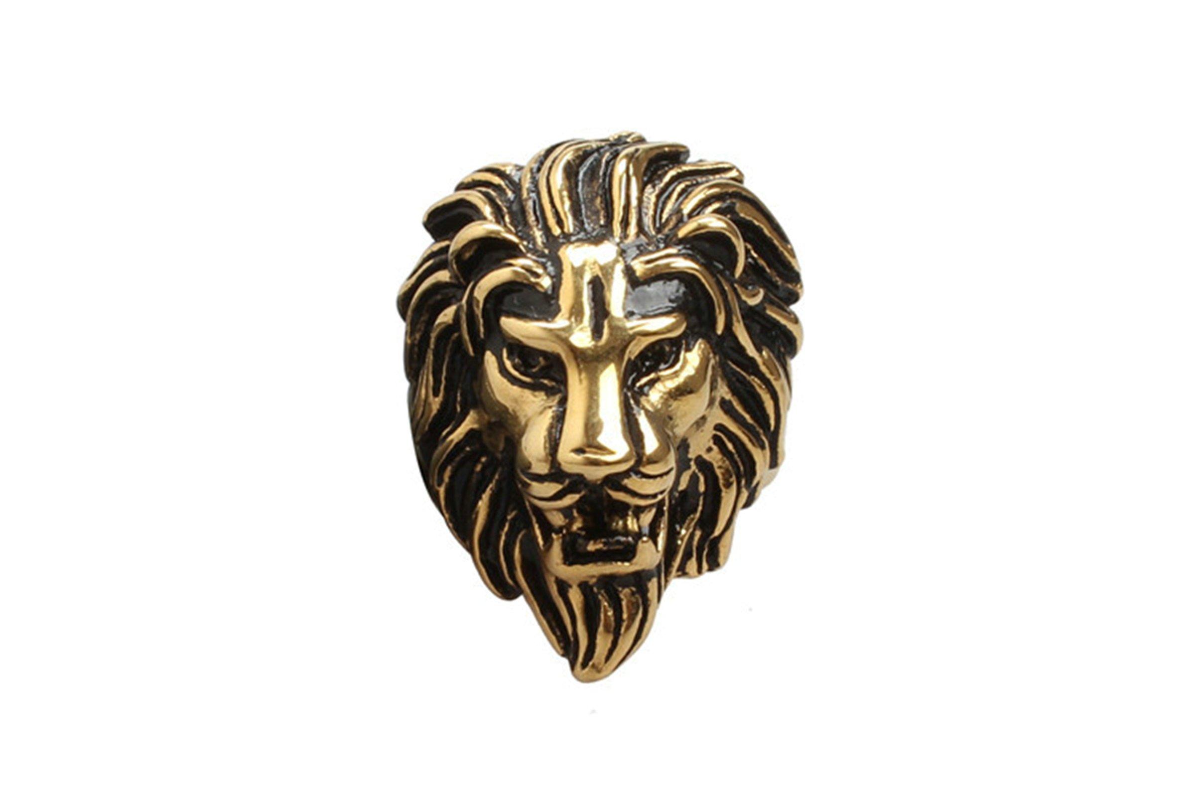 Epinki Men Ring, Stainless Steel Lion Head Ring Punk Retro Vintage Wedding Band Size 7 Men Accessories
