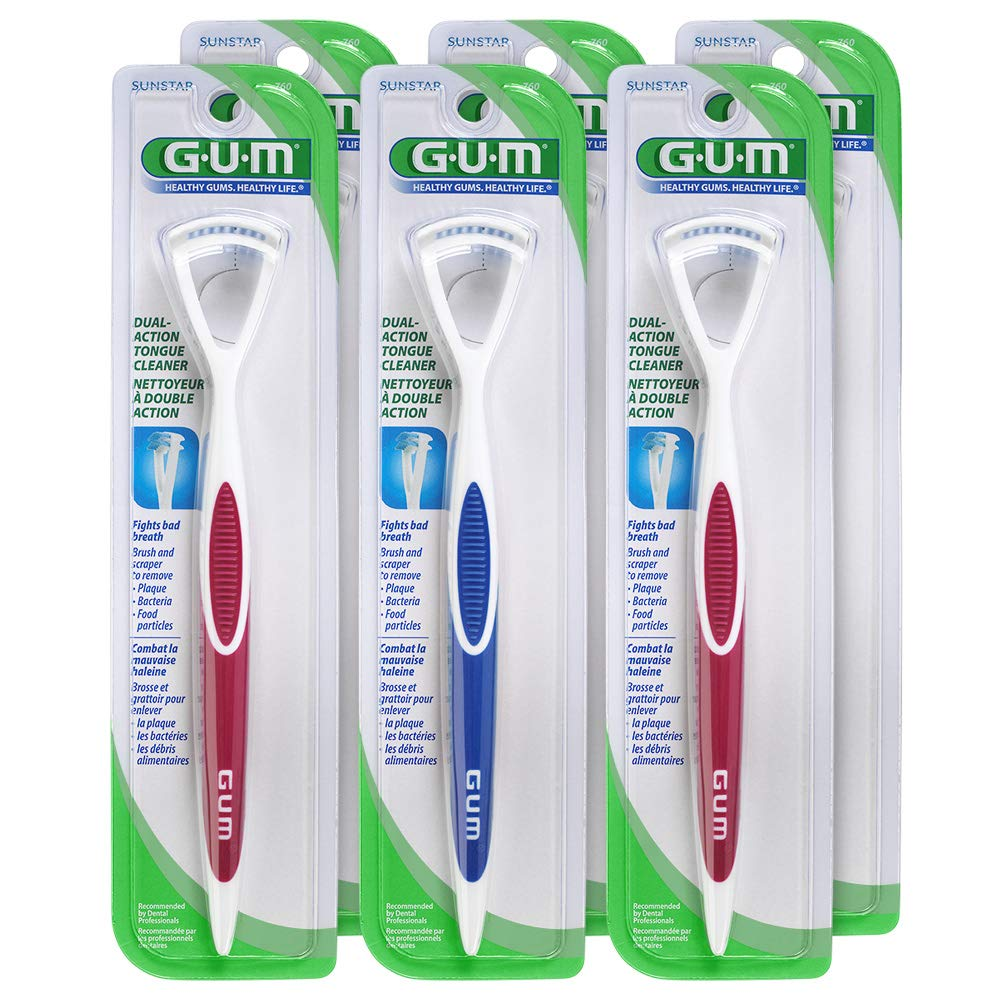 GUM Dual Action Tongue Cleaner (Pack of 6)