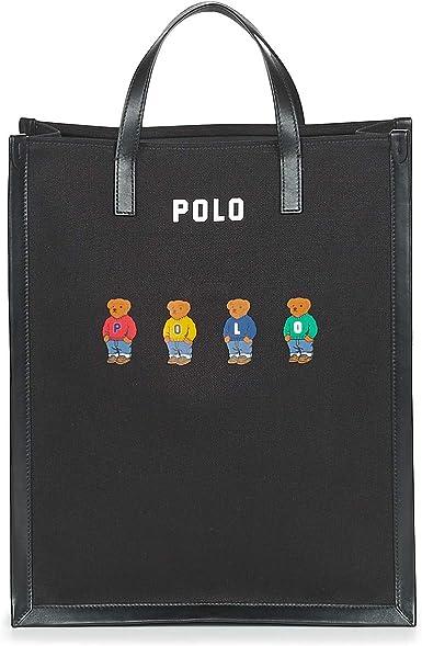 Polo RALPH LAUREN Shopper Tote Bolso de Mano Mujeres Negro - única ...