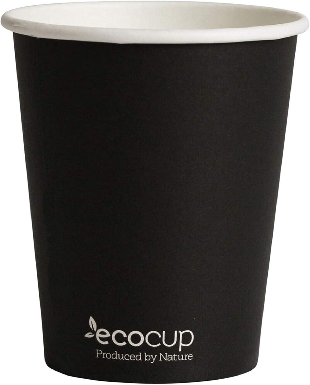Vasos de Café Desechables, Biodegradables y Compostables- 50Uds 285ml/ 8oz -Materiales 100% Ecológicos: Cartón con Certificado FSC®, Revestimiento de Bioplástico PLA Ingeo™. Negro