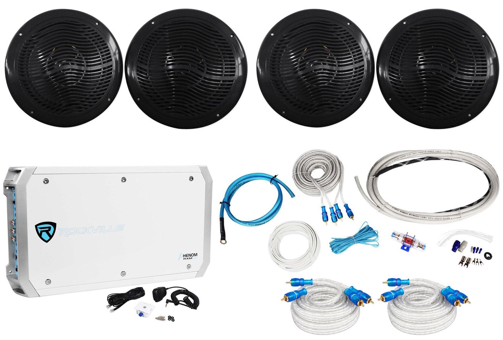 (4) Rockville RMC80B 8'' 1600w Marine Boat Speakers+6-Channel Amplifier+Amp Kit