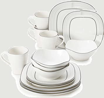 Mikasa Swirl 16-Piece Graphite Banded Square Dinnerware Set in White  sc 1 st  Amazon.ca : mikasa square dinnerware - Pezcame.Com
