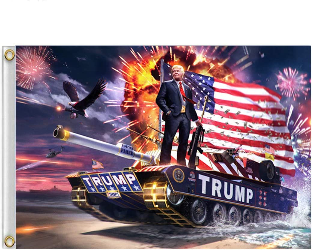 ERT Donald Trump Flagge, 91 x 152 cm, mit Messingösen Trump Tank:  Amazon.de: Garten