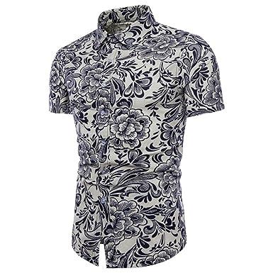 39cb8dd106f43 POachers Homme Chemise Slim Fit Manche Courte Ete Classique Chemises pour Hommes  Casual Chic Imprimé Homme