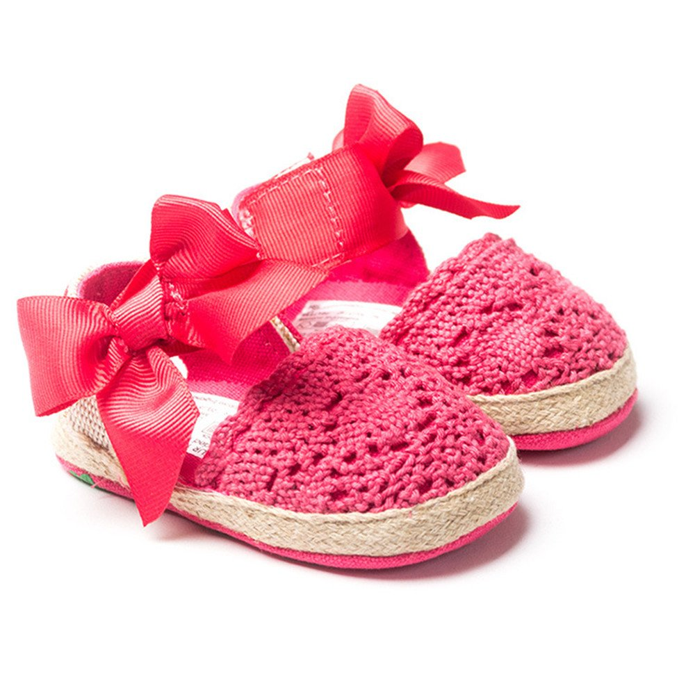 Estamico Infant Girls Net-Yarn Encaje Lazo Sandalias Rojo Rosso Talla:3-6 Meses