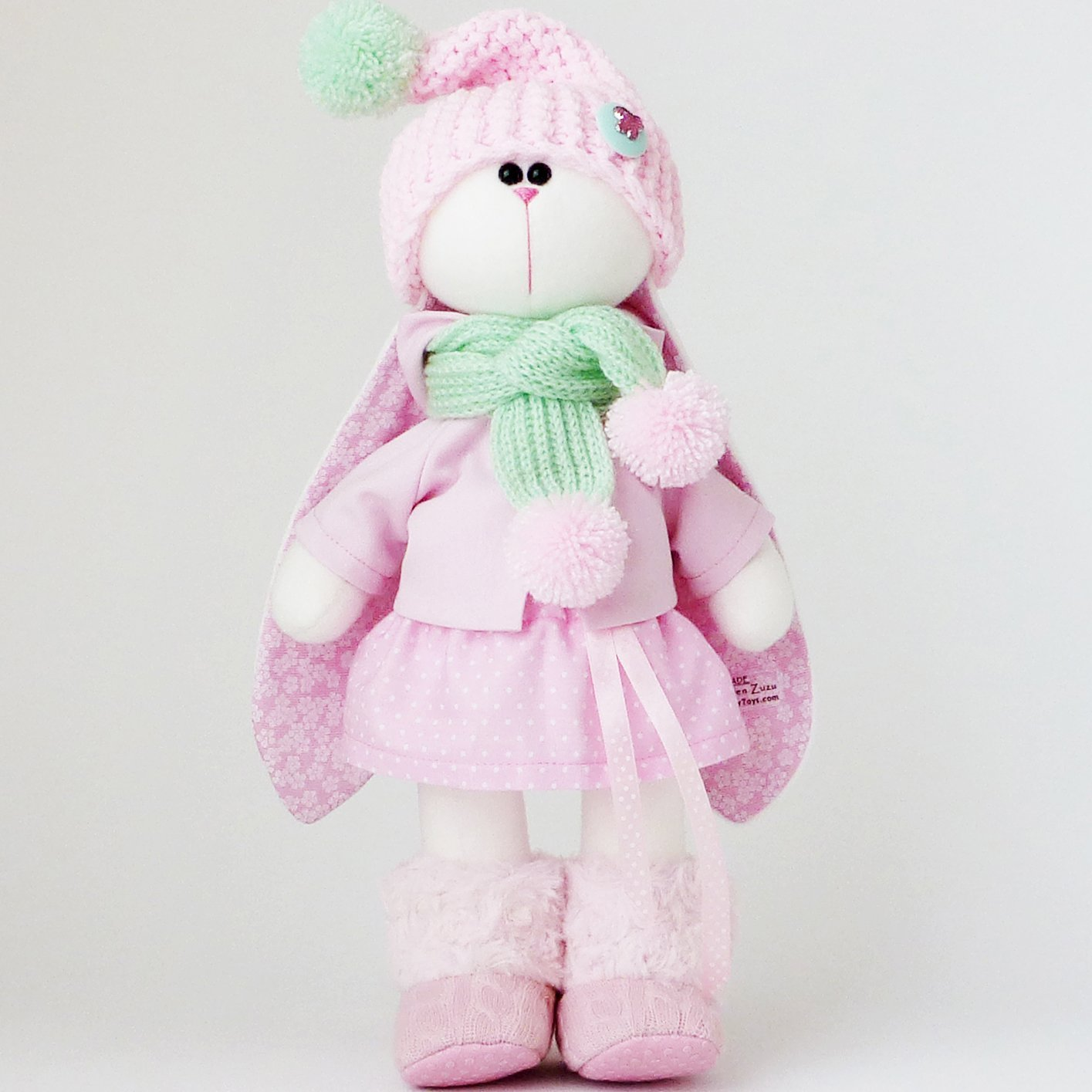 Easter bunny toy, Fabric doll 14 inch for girl