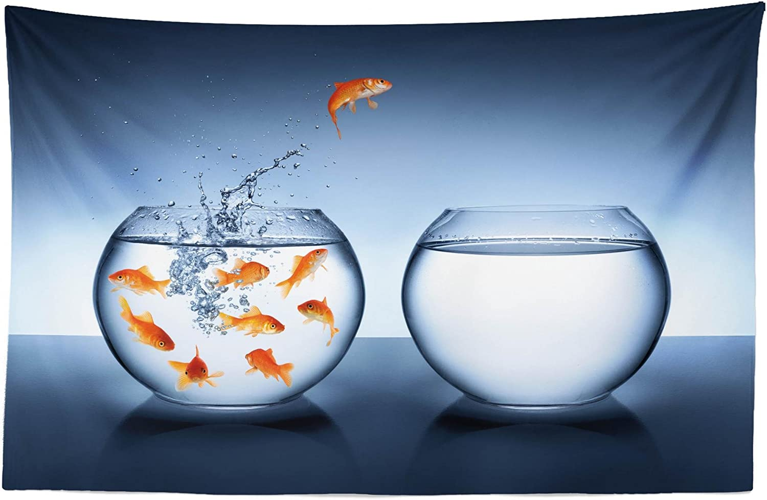 Lunarable Aquarium Tapestry, Little Brave Goldfish Jumping Fishbowl to Another Courage Improvement, Fabric Wall Hanging Decor for Bedroom Living Room Dorm, 45