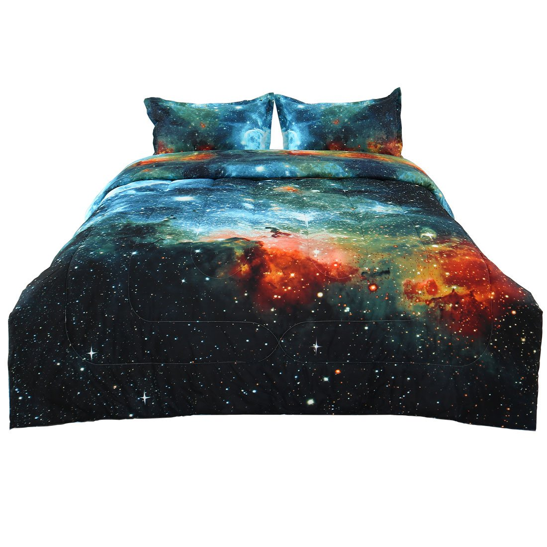 uxcell Full/Queen 3-Piece Galaxies Blue Comforter Sets - 3D Printed Space Themed - All-Season Down Alternative Quilted Duvet - Reversible Design - Includes 1 Comforter, 2 Pillow Shams