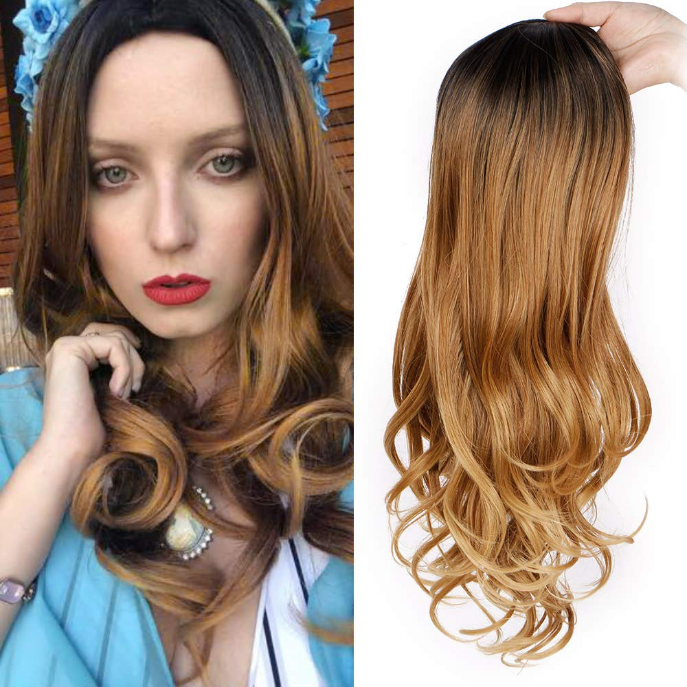 Synthetic Long Wavy Wigs for Women Brown Ombre Wigs with Middle Part Dark Roots Heat Resistant