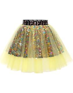 Berylove Mini Falda Mujer de Tul Tutú Ballet Lentejuelas para ...