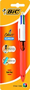 BIC 4 Colours Original Retractable Ball Pens Fine Point (0.8 mm) - Assorted Colours, Pack of 1 Pen