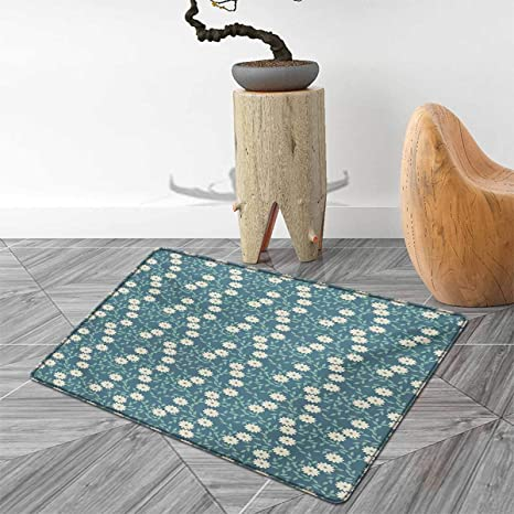 Amazoncom Ivory And Blue Bath Mat Non Slip Chamomile Flowers