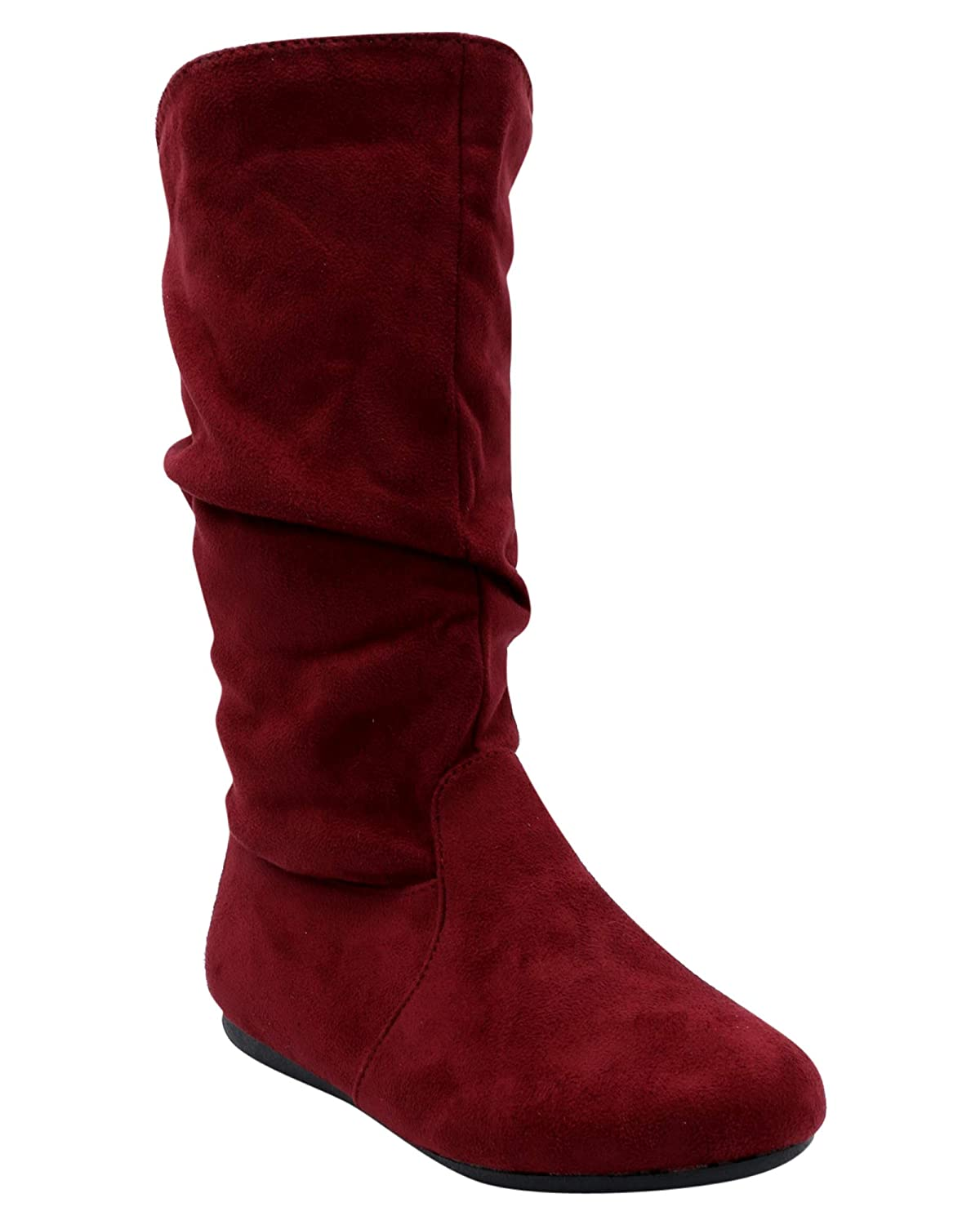 Link Girls Slouch Suede Boots Burgundy,12