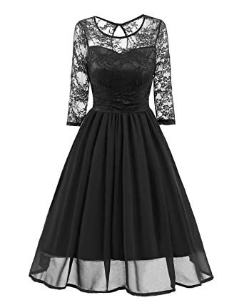 BEJG Womens Autumn Long Sleeves Lace Prom Dresses Formal Casual Swing Party Cocktail Dresses S-