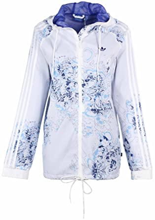 Adidas Originals Women's London Printed Windbreaker Jacket-White/Blue-Small