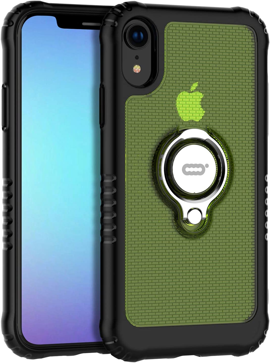 """ICONFLANG Phone Case Compatible for iPhone XR 6.1"""" with Ring Kickstand 360 Degree Rotating Drop Airbag Protection Shock Absorption Case [Compatible Magnetic Car Mount case] (Green)"""