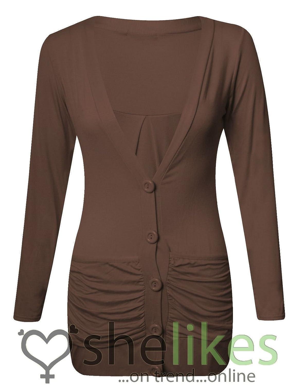 Womens Long Sleeve Top Ladies Button Up Boyfriend Ladies Cardigan Top UK 6-14