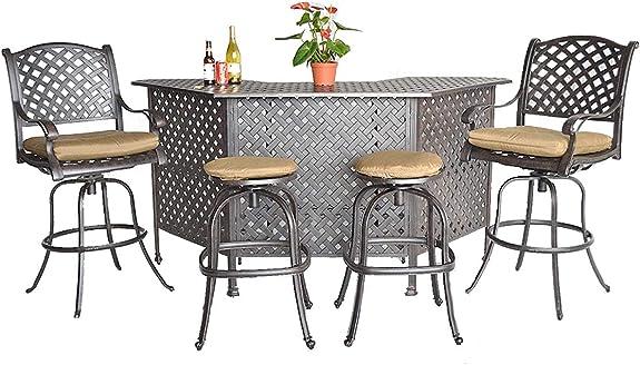 Sunvuepatio Nassau Cast Aluminum Powder Coated 5 Piece Outdoor Bar Table and Chairs Set Desert Bronze