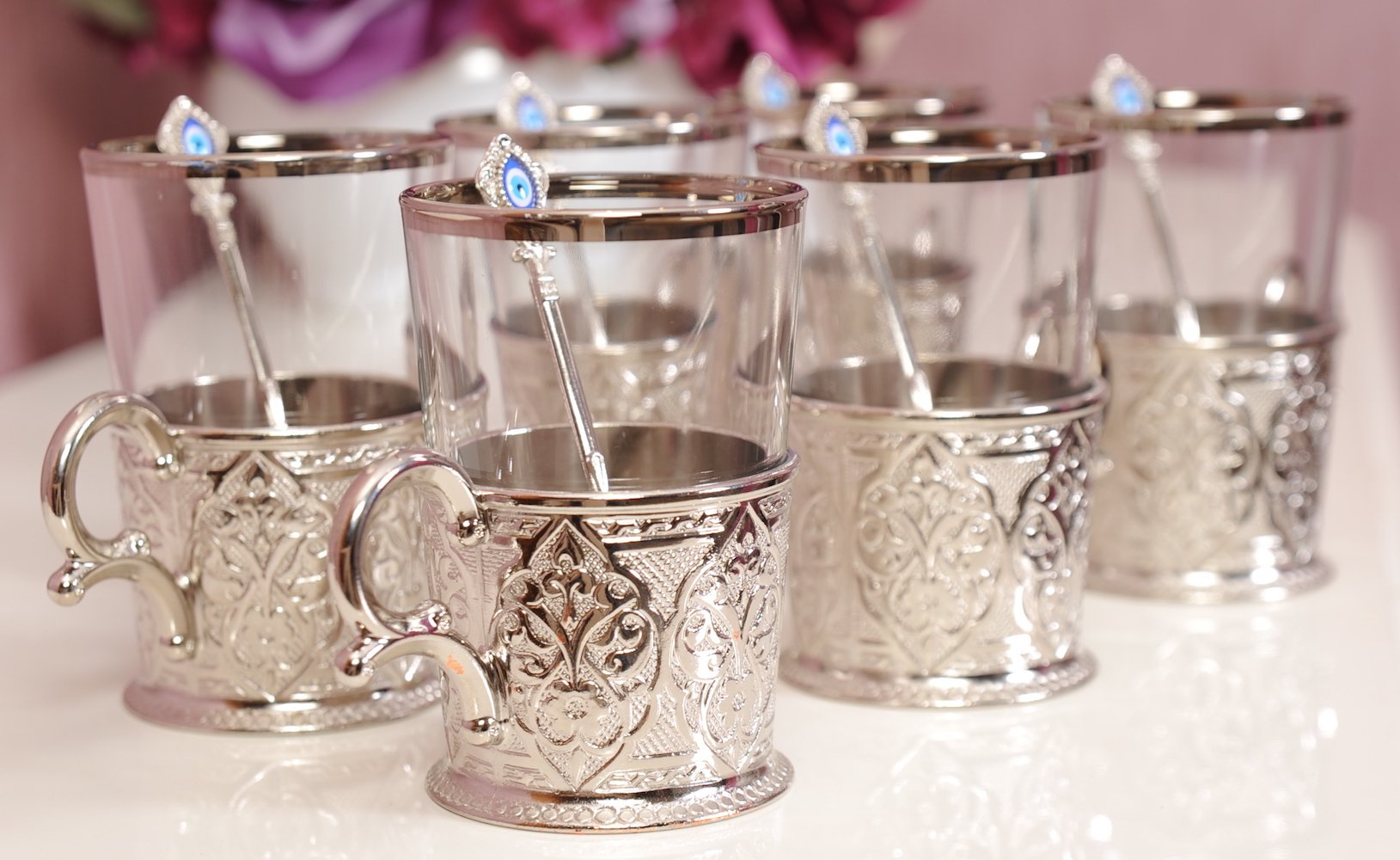Demmex CopperBull 2018 Unique Decorated Tea Coffee Glasses Cups with Holders & Spoons, 200ml (Silver - Set of 6)
