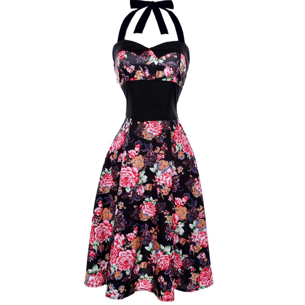 Clearance! 50S 60S Vintage Dresses for Women Casual Evening Party Pleated Print Prom Swing Halter Summer Dresses