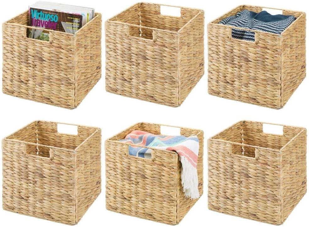 mDesign Natural Woven Hyacinth Closet Storage Organizer Basket Bin - Collapsible - for Cube Furniture Shelving in Closet, Bedroom, Bathroom, Entryway, Office - 6 Pack - Natural
