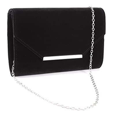 Women Ladies Faux Suede Velvet Envelope Clutch Bag Shoulder Evening Prom  Handbag Silver Trim Purse with 62e9442f81b6e