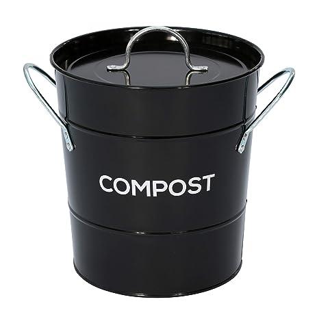 De Metal negro cubo para Compost Kitchen - cubo de basura de ...