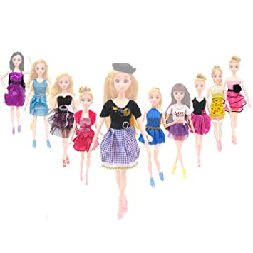5d6473202 Elisona-10 Set Fashion Girl Dolls Toys Summer Dresses Gown Outfits Clothes  Accessories for Barbie Toys Children Girls Birthday Gift Random Style, ...