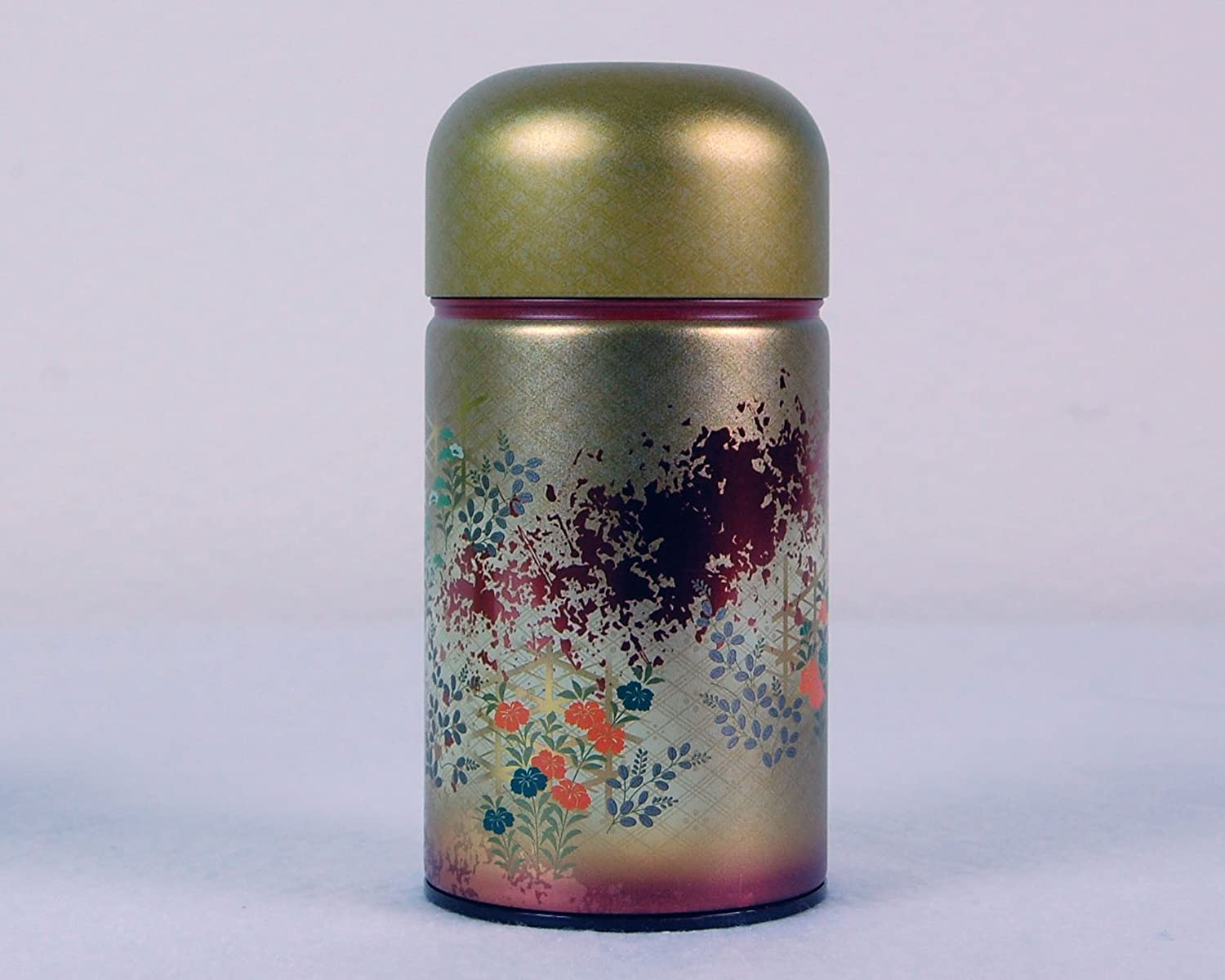 Beautiful Japanese Metal Tea Tin (RED) Ryu Mei