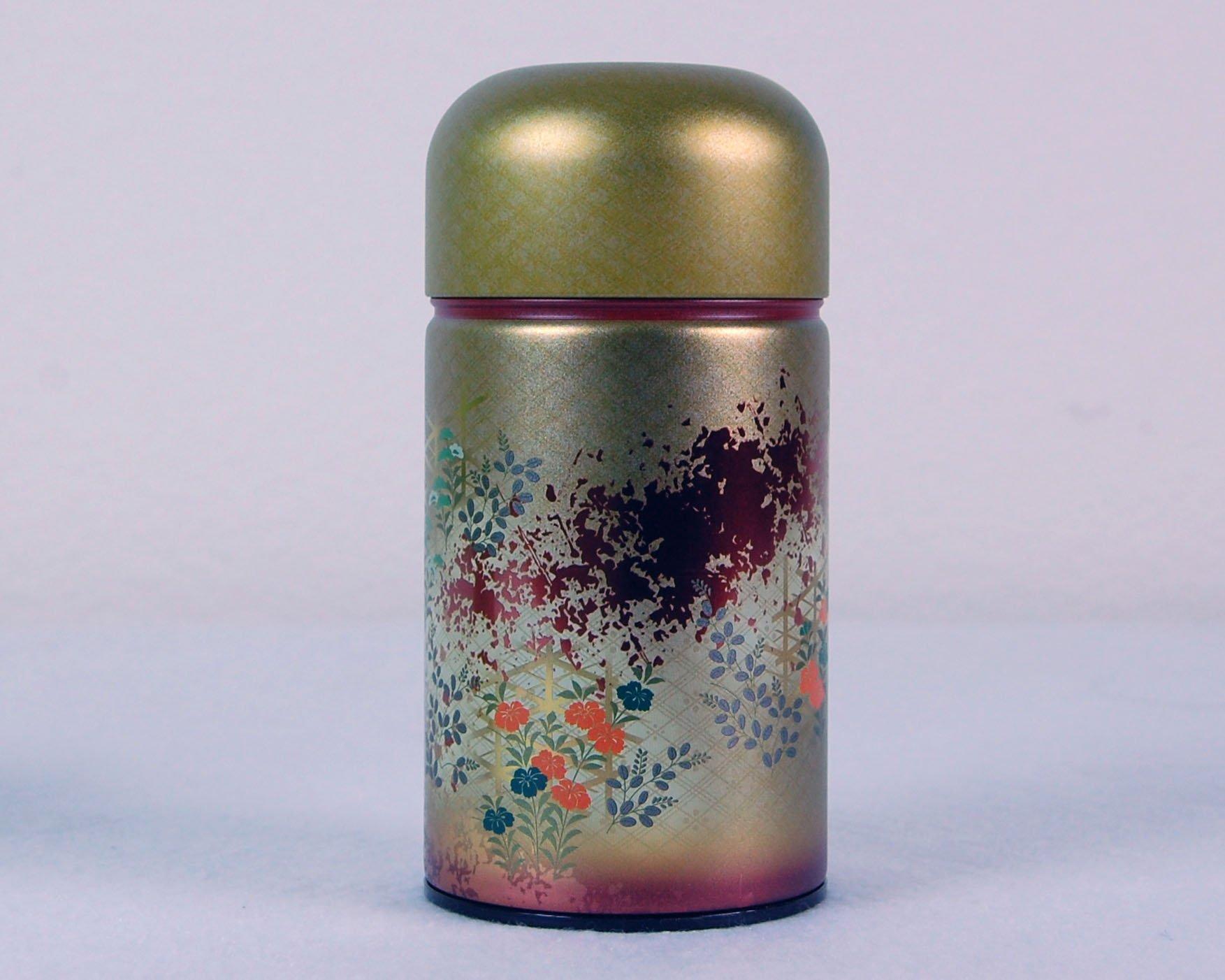 Beautiful Japanese Metal Tea Tin (RED)