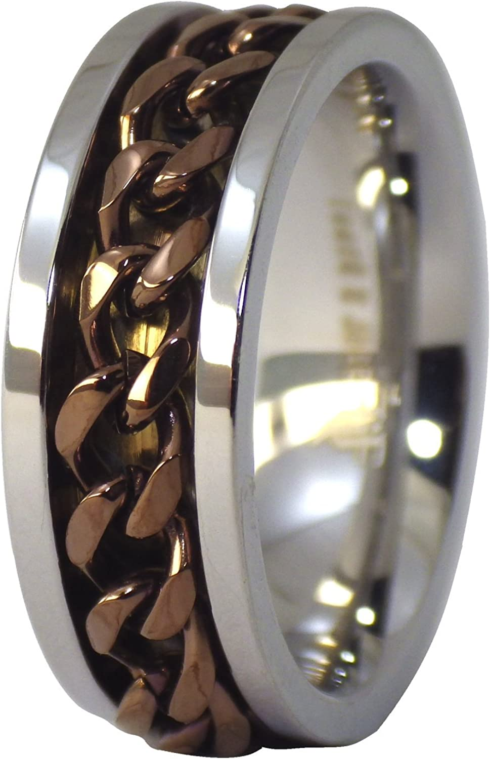 Fantasy Forge Jewelry Coffee Chain Spinner Ring Stainless Steel 8mm Comfort Fit Wedding Band Size 7-16