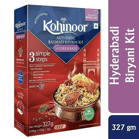 Kohinoor Authentic Basmati Biryani Kit, Hyderabadi, 327g