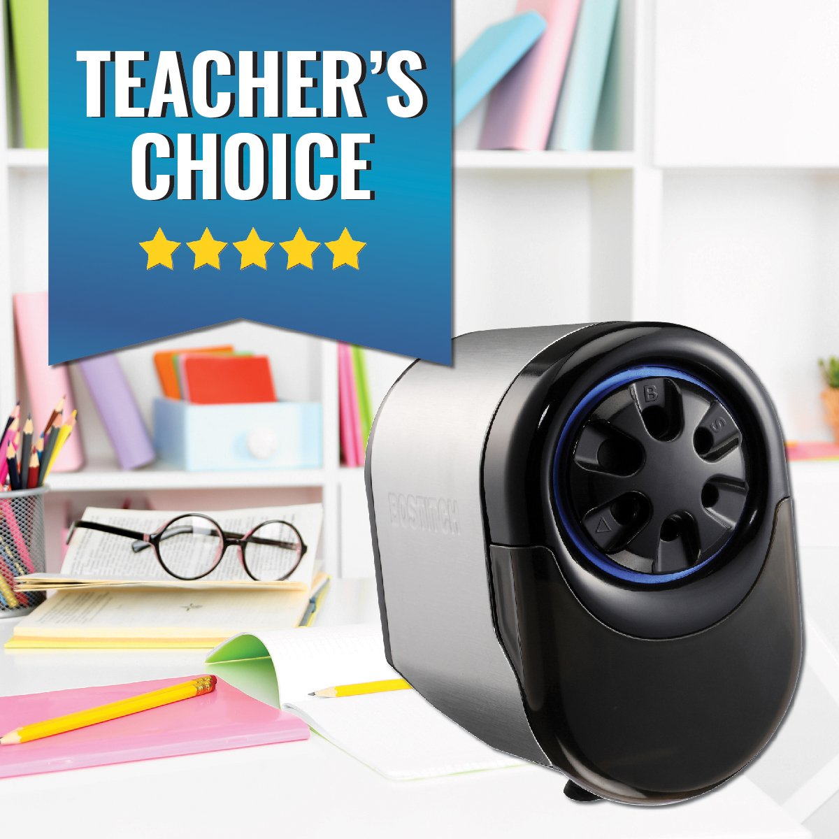 Bostitch Antimicrobial QuietSharp Glow  Extra Heavy Duty Classroom Electric Pencil Sharpener with Replaceable Cutter Cartridge System, Silver/Black (EPS11HC) by Bostitch Office (Image #6)