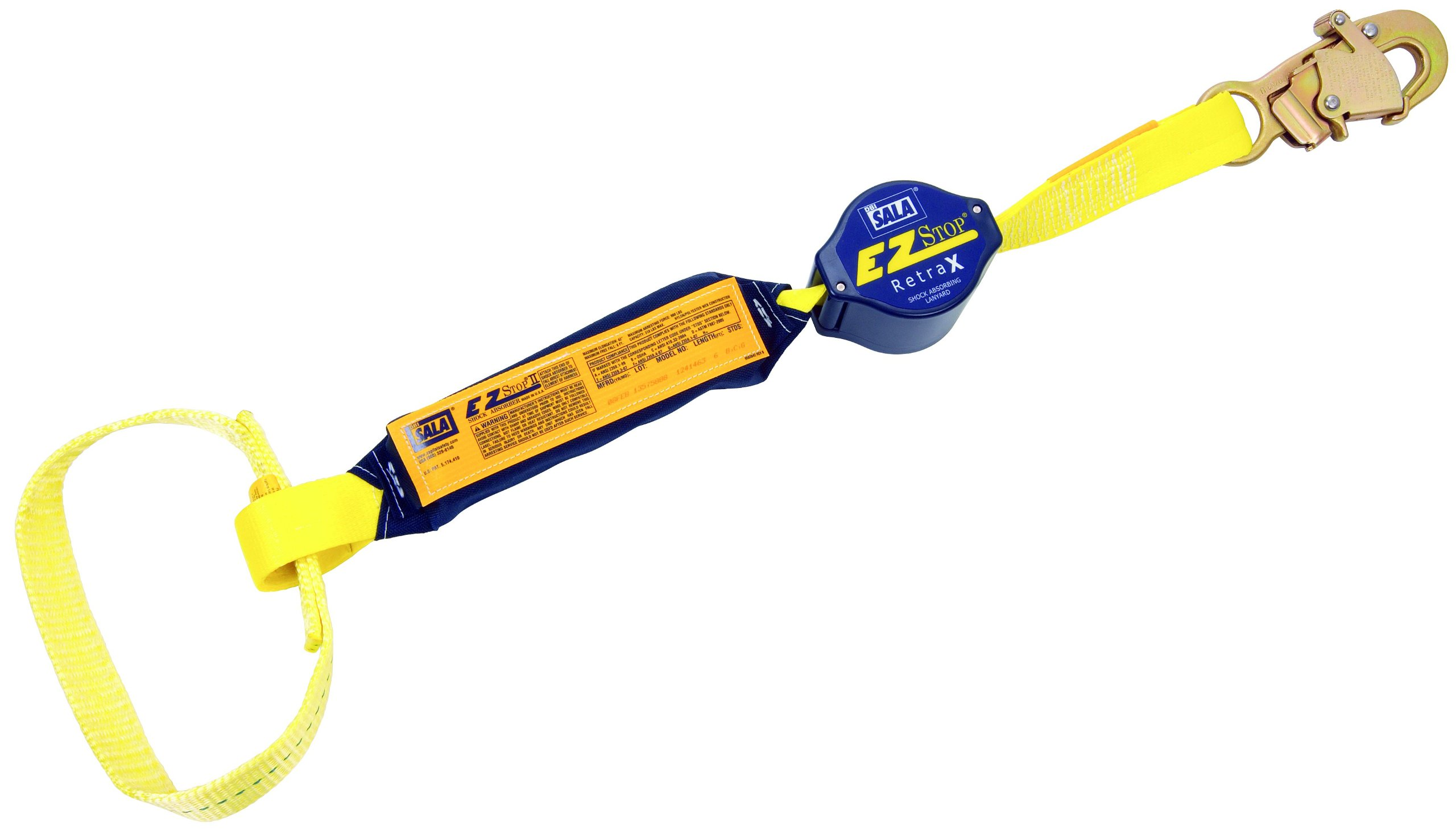 3M DBI-SALA Retrax 1241463 Shock Absorbing Lanyard, 6' Single-Leg Retractable Web and Snap Hook At One End, Web Loop Choker At Other End, Navy/Yellow by 3M Fall Protection Business (Image #1)