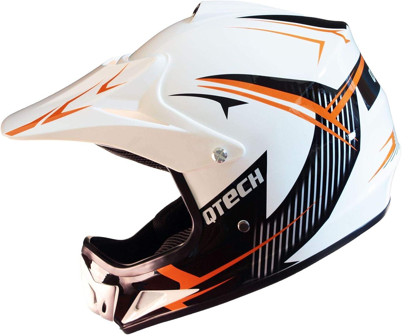 Dise/ño gr/áfico Brillante//Mate S Qtech Casco Todoterreno Infantil para Ciclismo Motocross MX ATV BMX - Naranja 52-53cm