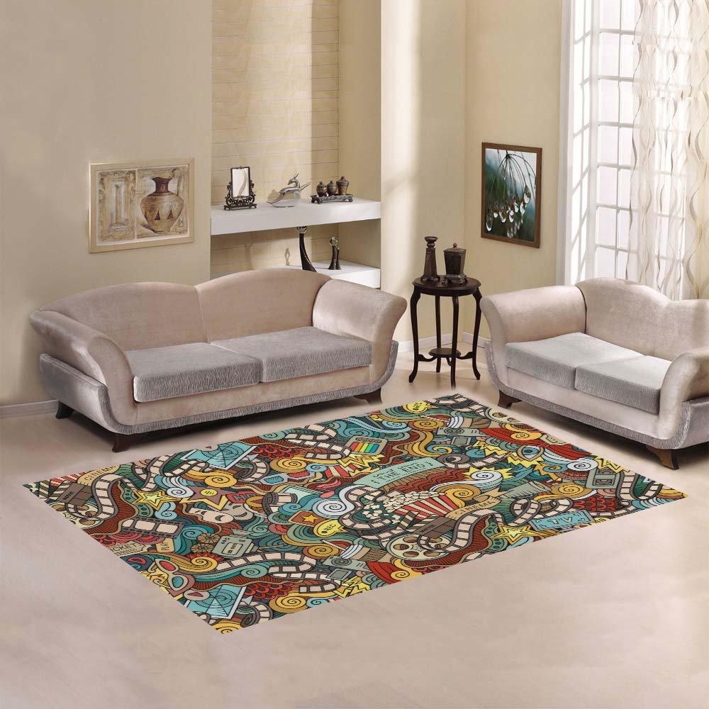 your-fantasia Cartoon Doodles Cinema Movie Film Area Rug Modern Carpet Home Decor