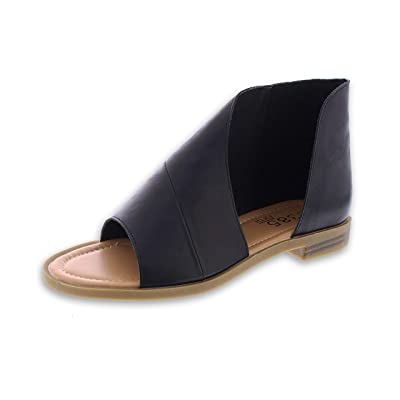 385 Fifth Donna Women's Faux Leather Asymmetrical Sandal Open Toe Flats Half D'Orsay Low Heel Shoes | Flats