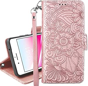 Petocase for iPhone 8 Plus Wallet Case,Embossed Mandala Floral Leather Folio Flip Wristlet Shockproof Protective ID Credit Card Slots Holder Cover for Apple iPhone 8 Plus/7 Plus 5.5 Rose Gold